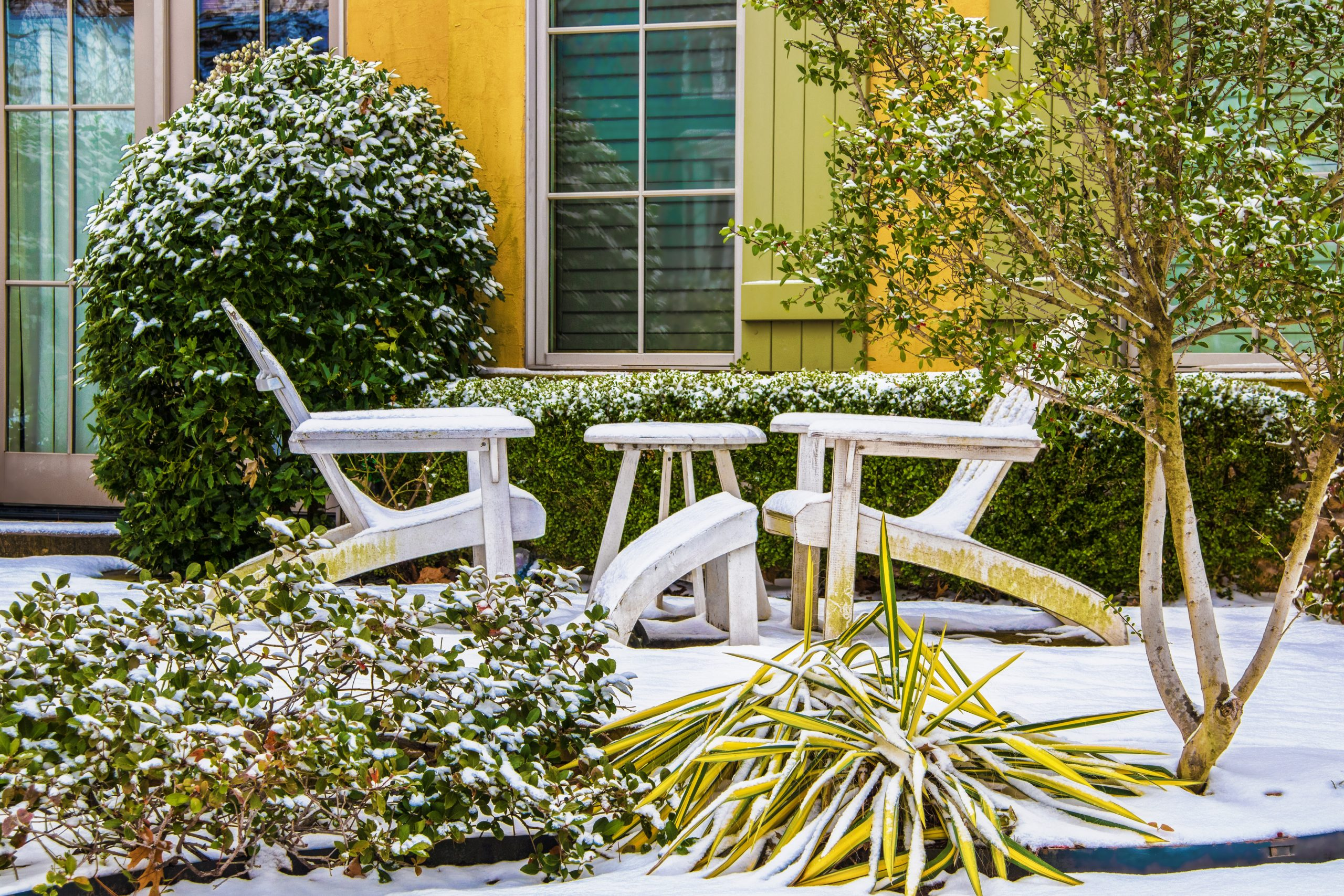 ice covered chair and table in a garden