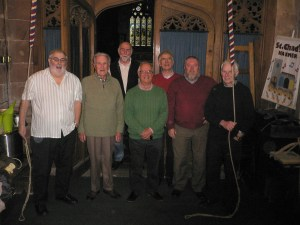 Bettisfield Bell Ringers, Phil, Frank, Peter, Jeremy, Mike, Kevin and John.