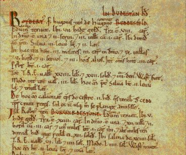 Copy of  a page from The Doomsday Book describing Bettisfield. From The National Archive