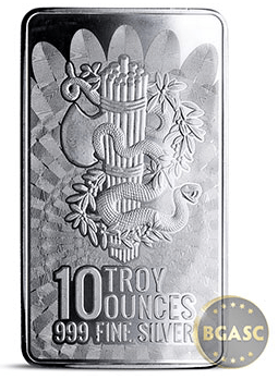 10 oz Silver Bar Liberty & Unity .999 Fine Bullion Ingot back
