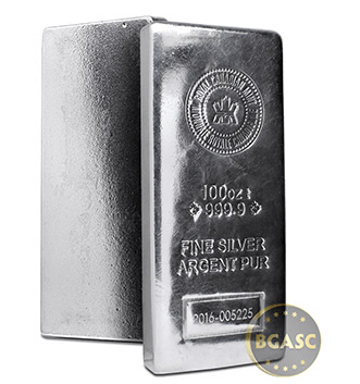 100 ounces silver bar royal canadian mint