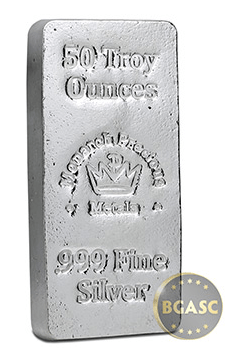 50 ounce monarch hand poured silver bar