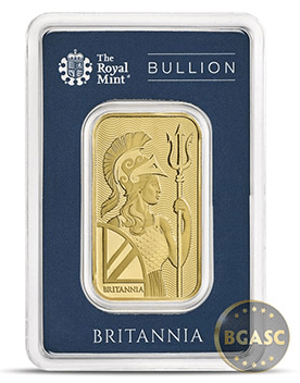 Britannia 1 ounce gold bar front