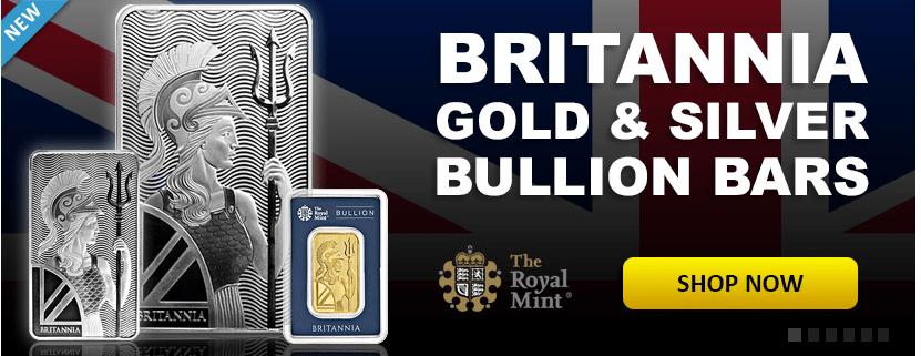 Britannia gold and silver bar banner