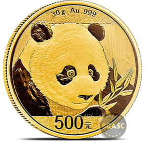 Chinese 30 g 2018 gold panda reverse panda