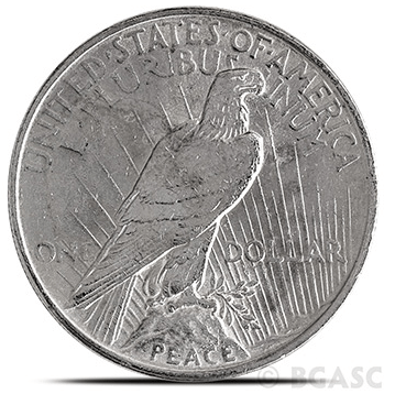 Cull Peace Dollar reverse
