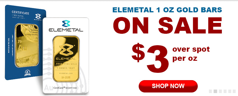 one ounce ELEMETAL GOLD BARS for sale