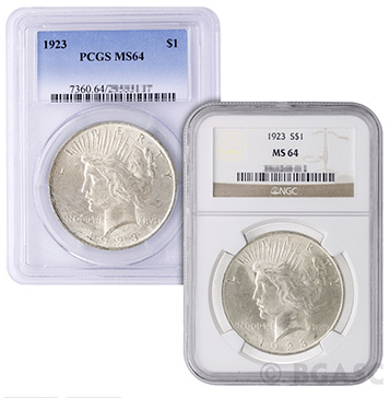 PCGS and NGC Peace Dollar MS-64