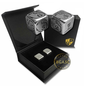 Silver dice with dragon design