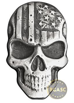 Spookey 2 oz Silver Stars & Stripes Skull MK BarZ .999 Fine 3D Art Bar