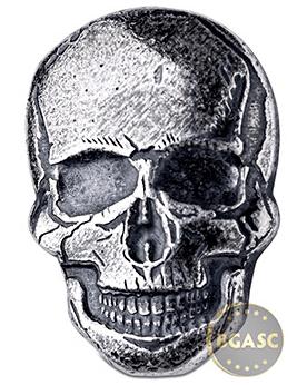 Spooky 2 ounce silver skull