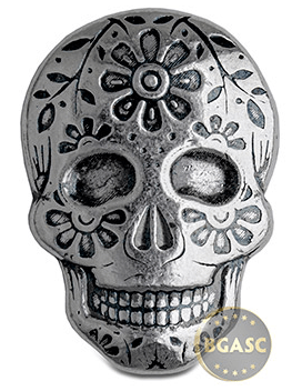 spookey 2 oz Silver Day of the Dead Sugar Skull Monarch Poured .999 Fine 3D Art Bar - Marigold