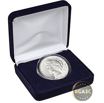 uncirculated Peace dollar in velvet box