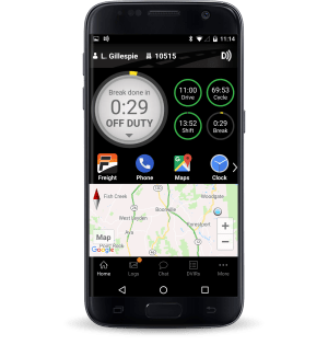 Samsung phone displaying Driver Dashboard with break time finished in the BigRoad ELD app