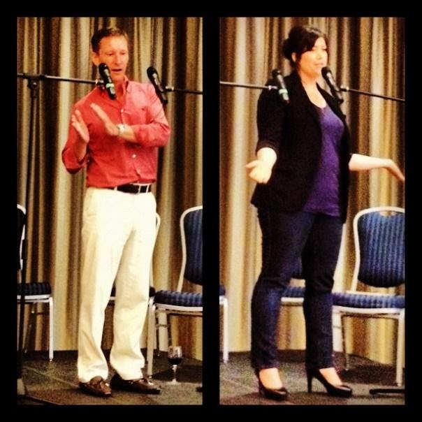 Speakers of the night: John Skinner from @PaintedRockWine & Wendy Boys @Wendychocolate #foodtalksvan - from Instagram