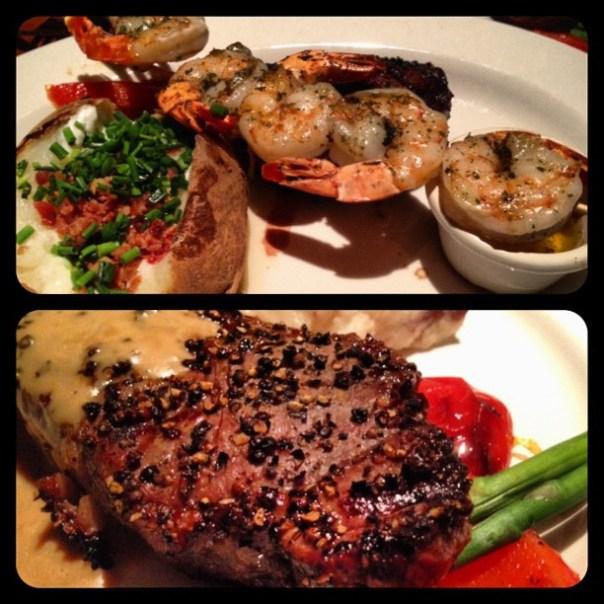 Top #sirloin with tiger prawns & #Peppercorn New York #steak - from Instagram