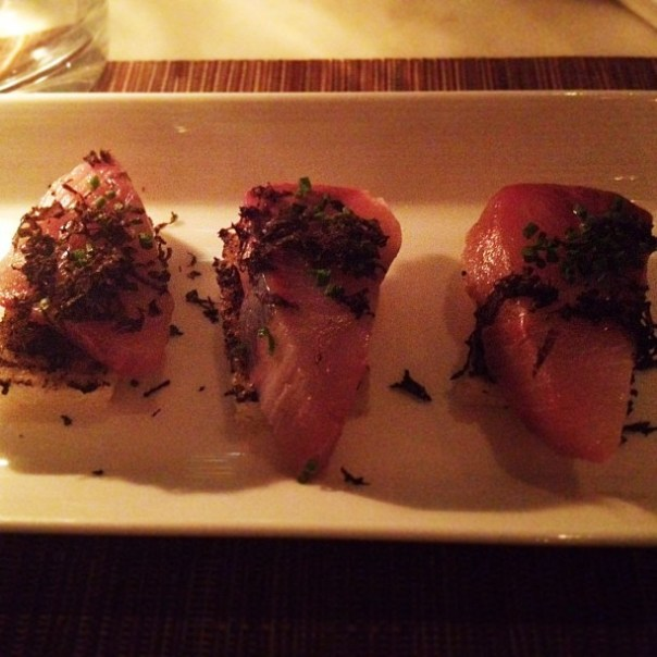 Course 1: Fresh #Hamachi #sashimi on garlic bread. - from Instagram