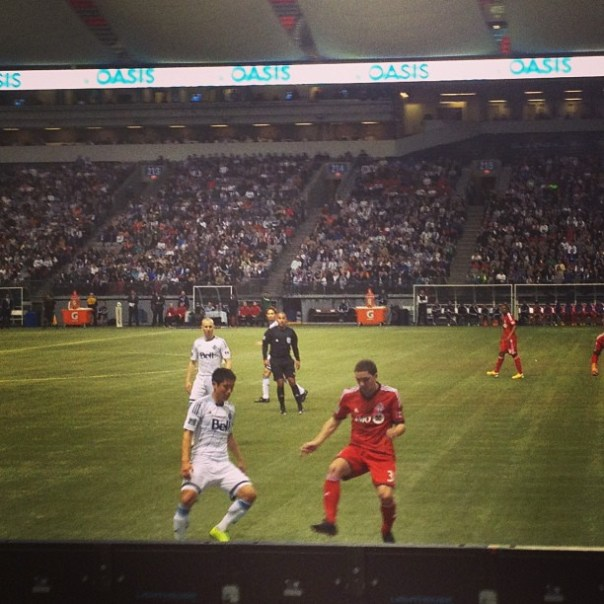 Best seat ever! I can see all the details! ;) @Whitecspsfc vs @torontofc #vwfc #soccer #mls #YPLee - from Instagram
