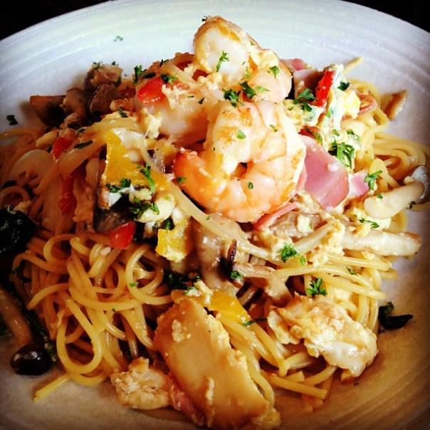 Interesting combination: Egg & Shrimp spaghetti - #Japanese style #spaghetti @spaghetei_van - from Instagram