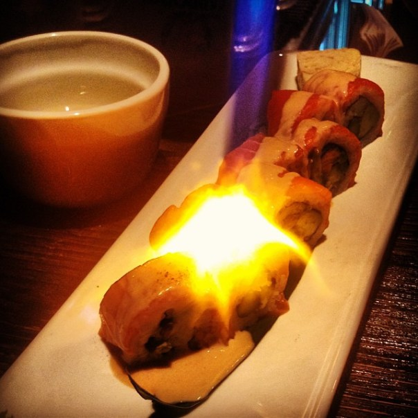 The final course of the night is #torch #Lighting #Aburi #Salmon roll @HapaIzakaya #Yaletown - from Instagram