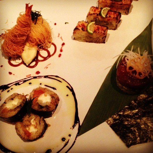 Wild Sockeye Japanese Aburi + Toro Red Chili Aburi + Caprese Roll + Filo Scallop & Prawn + Ahi Tuna Tartare @BistroSakana #dovf - from Instagram