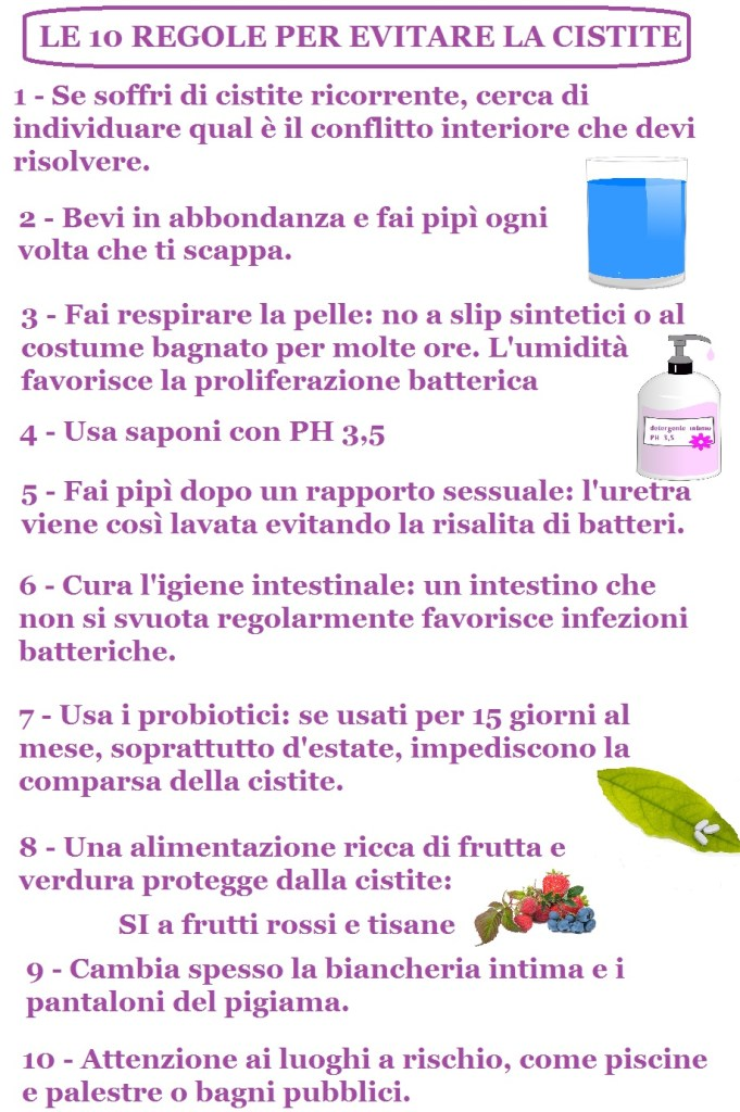 le 10 regole per evitare la cistite