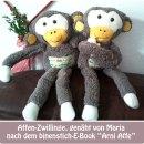 """Affen, genäht von Maria nach dem binenstich-E-Book """"Arni Affe""""   binenstich.de"""