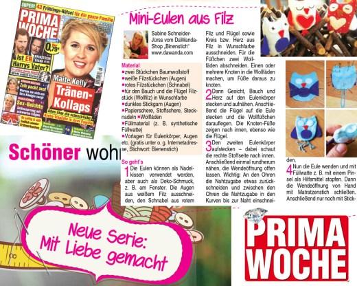Eulen in der Prima Woche, Rubrik: Mit Liebe gemacht, 5/2017