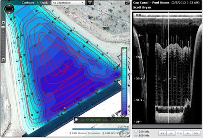 ciBioBase, sedimentation, Lowrance, downscan, sonar, mapping, bathymetry, depth, water volume