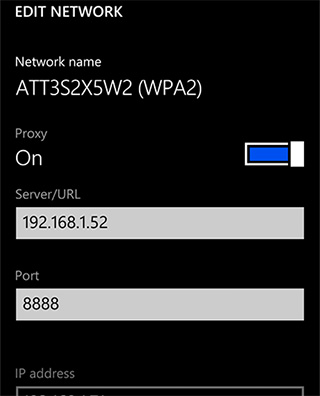 WP8 Proxy Settings