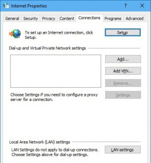 Internet Properties: Connections tab