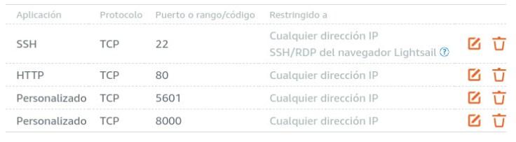 AWS Lightshail instance firewall rules screenshot