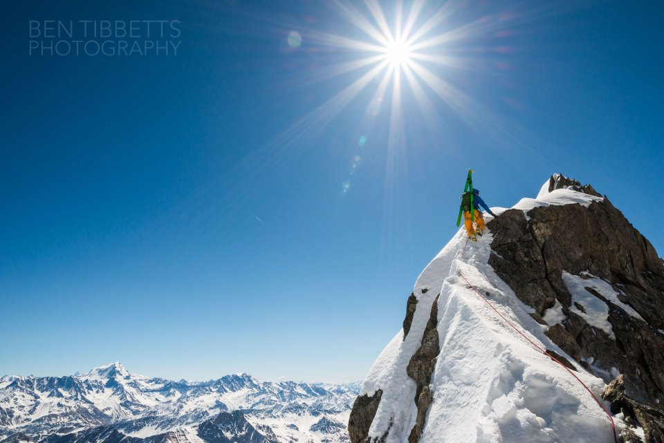Ben Tibbets skilfully captures the beauty of the exposed ridge. skis : navis freebird