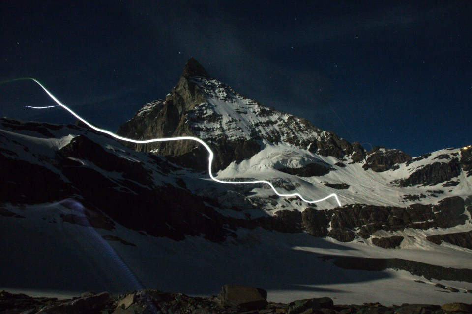 The heardtorch showing the path to a moonlit Matterhorn. Photo: Ross Hewitt