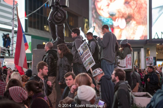 Protesters gathering in Times Square