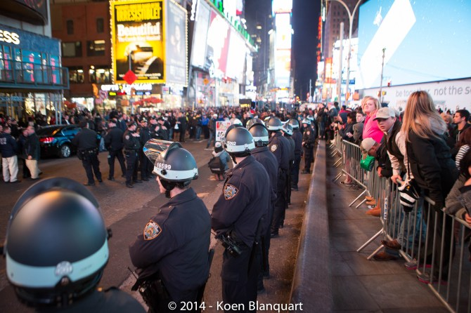 NYPD in Riot gear on Times Square