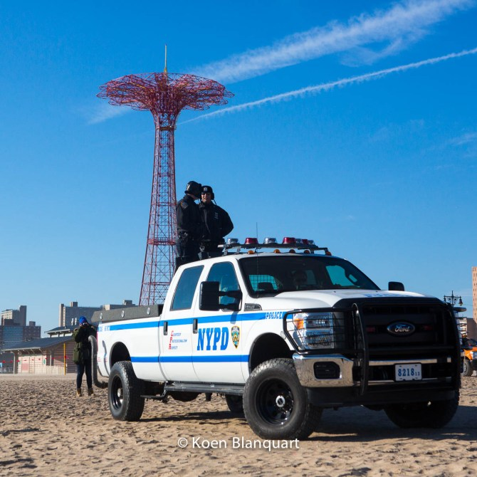 NYPD on the beach of Coney Island