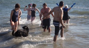 Friends facing the cold water during the coney island polar bear plunge