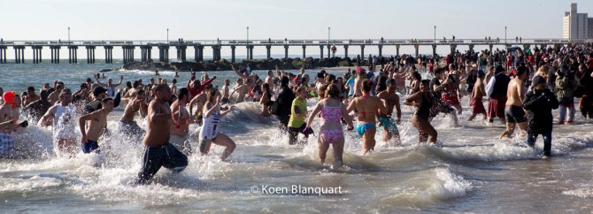 People play the Atlantic ocean during the Coney Island Polar Bear Plunge 2015