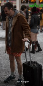 Charlie Todd, the man who drives Improv Everywhere - without pants on the No Pants Subway Ride.