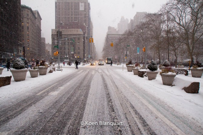 Fifth avenue, Manhattan, on Monday afternoon, when the first part of Juno hit NYC. (Image Koen Blanquart)