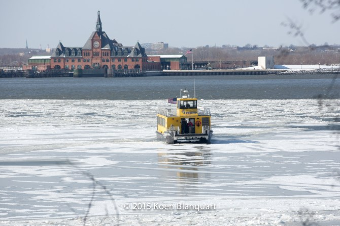 The ferry of Liberty Landing Ferry being stuck in the ice, when it was on its way from  Jersey City to the Battery Park Ferry Terminal (Manhattan)