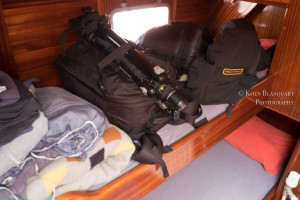 Gear on my bunk bed in the Sarah Vorwerk, on my travel to Antarctica