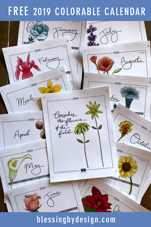 FREE 2019 Colorable Botanical Calendar