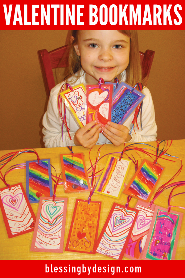 Kids Make Valentine Bookmarks