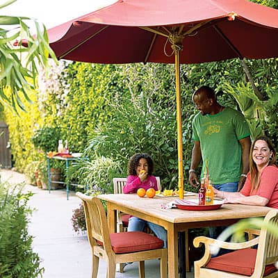 Create an outdoor kitchen and eating space