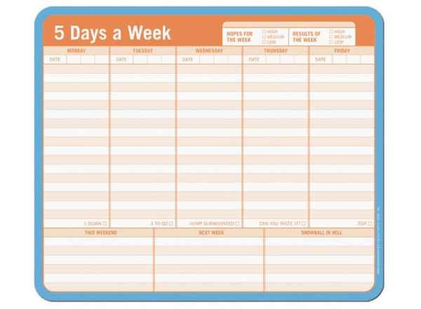 5 days a week paper mousepad