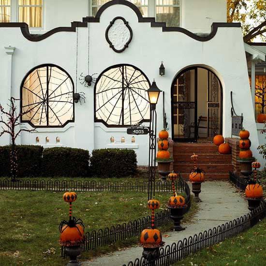 Halloween spiderweb windows