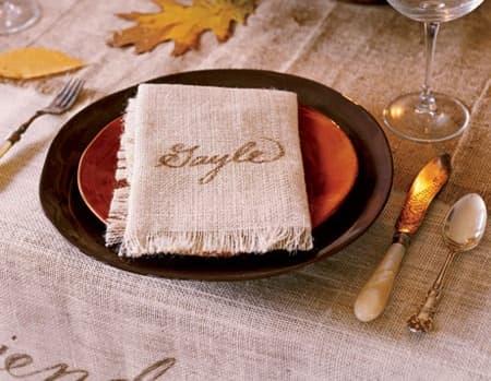 personal burlap napkins
