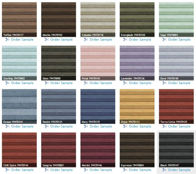 Levolor Cellular shade colors